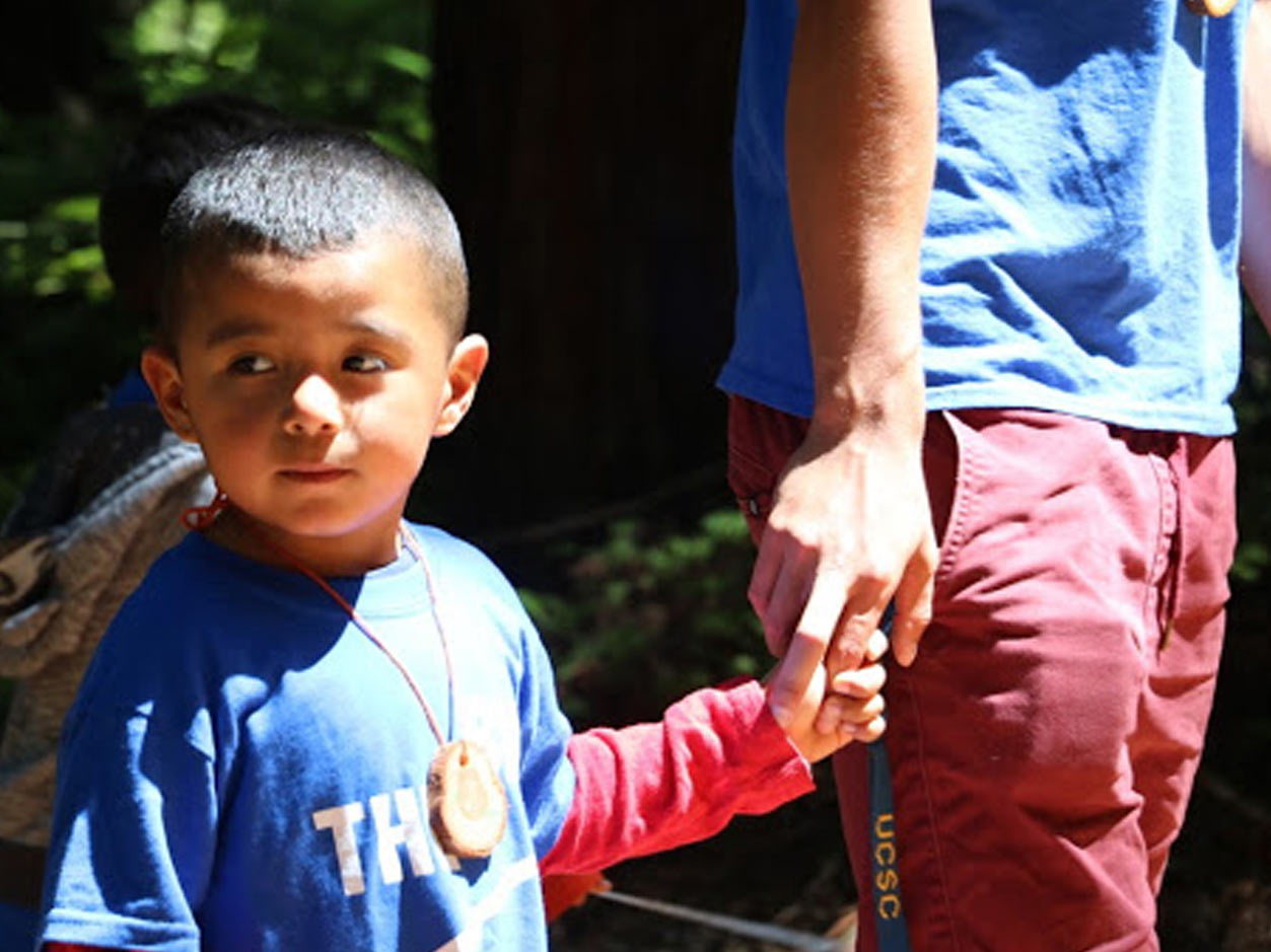 an image of a young boy in a blue shirt holding hands with an adult and walking together
